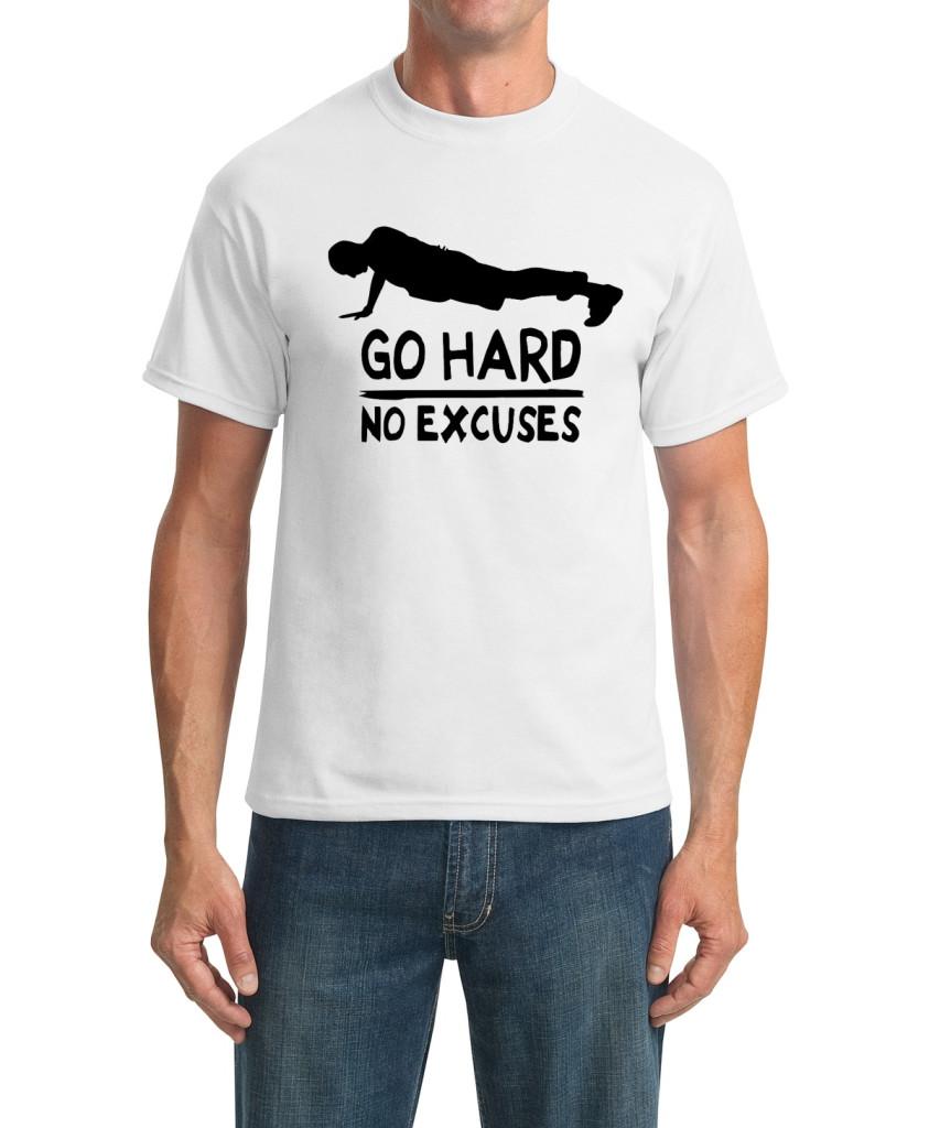 go hard white t-shirt