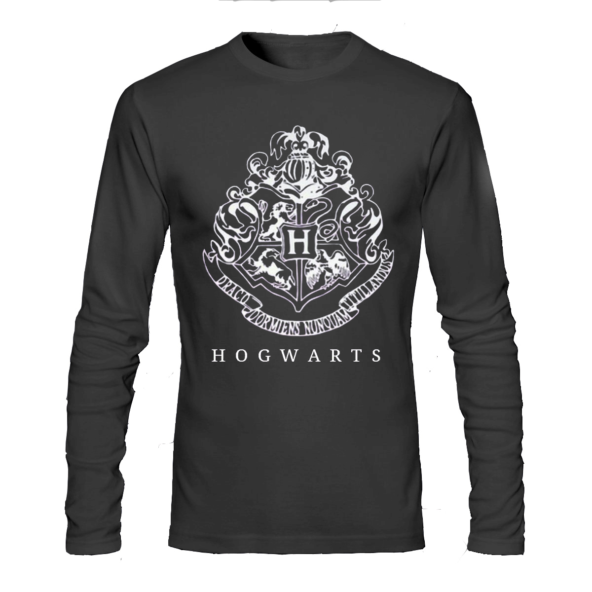 Hogwarts black full sleeve t shirt swag shirts for Full black t shirt