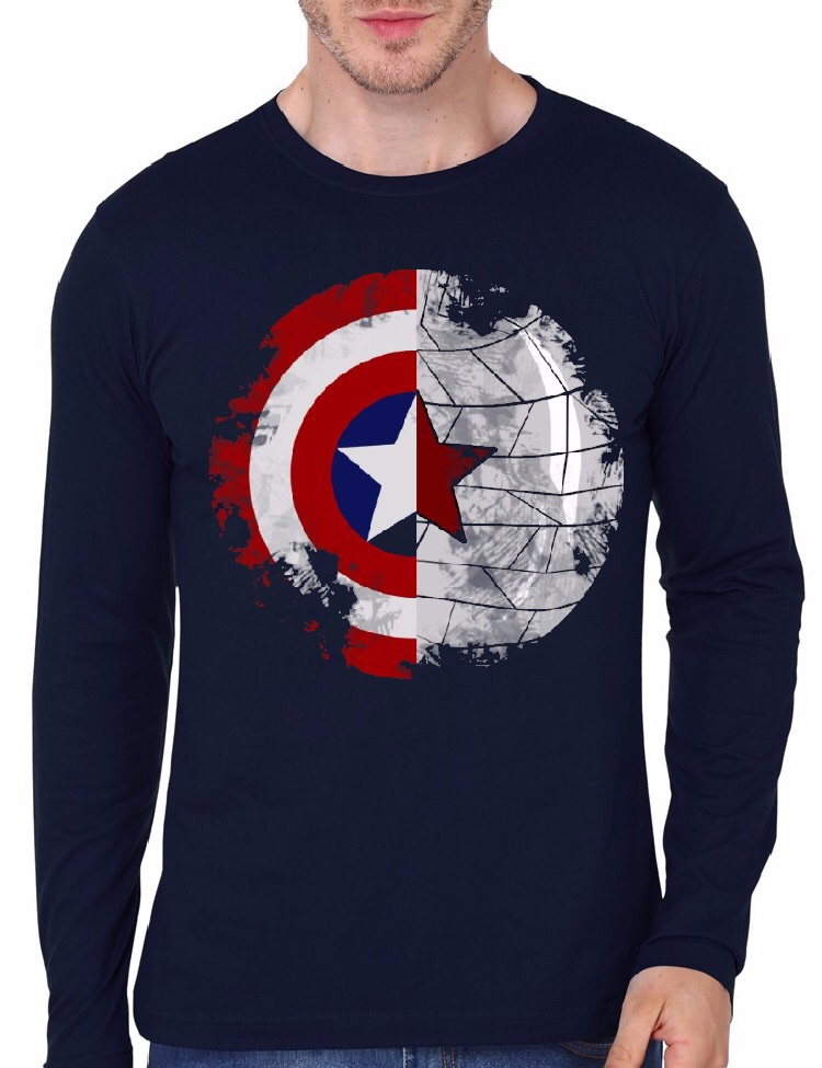 Home   Full Sleeve T Shirts India - Long Sleeve T-shirt   Captain America  Navy Blue Full Sleeve T-Shirt 24f25b9ec3f