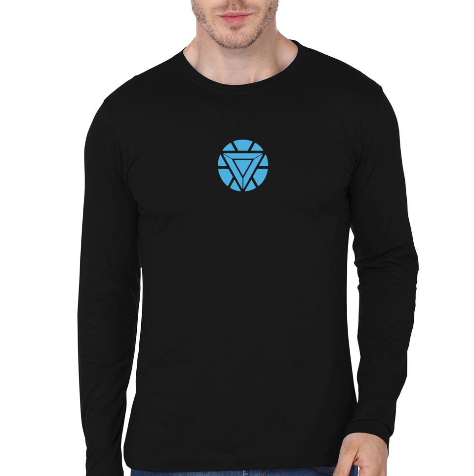 Iron man arc reactor full sleeve black t shirt swag shirts for Full black t shirt