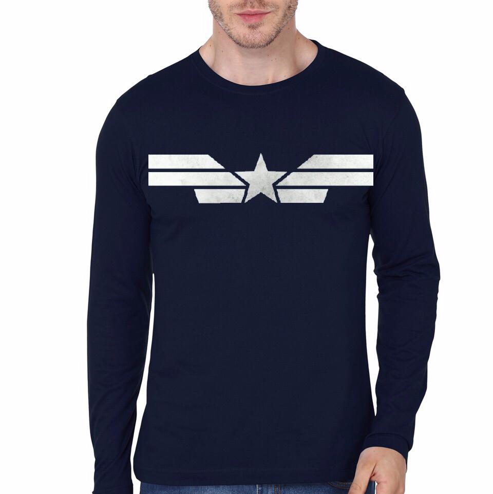 Captain America Navy Blue Full Sleeve T-Shirt |