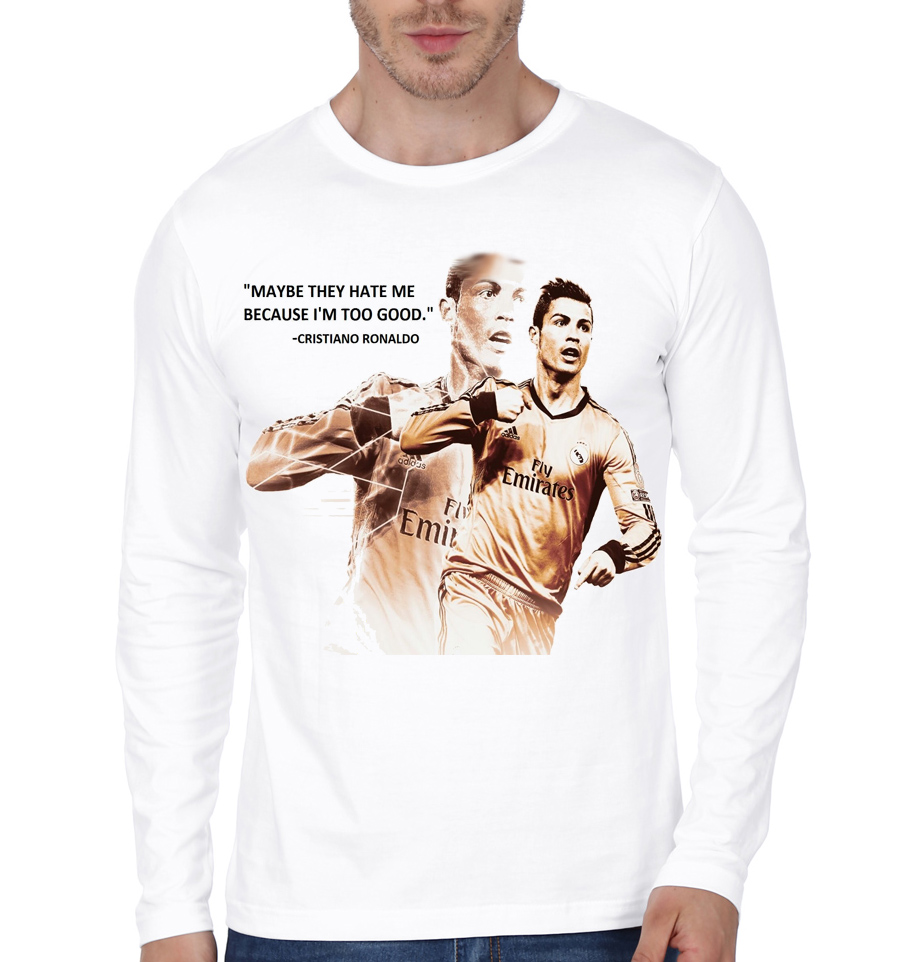 buy online dffd0 31b08 CR7 White Full Sleeve T-Shirt
