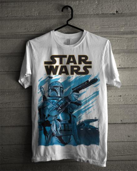 star wars cover white t-shirt