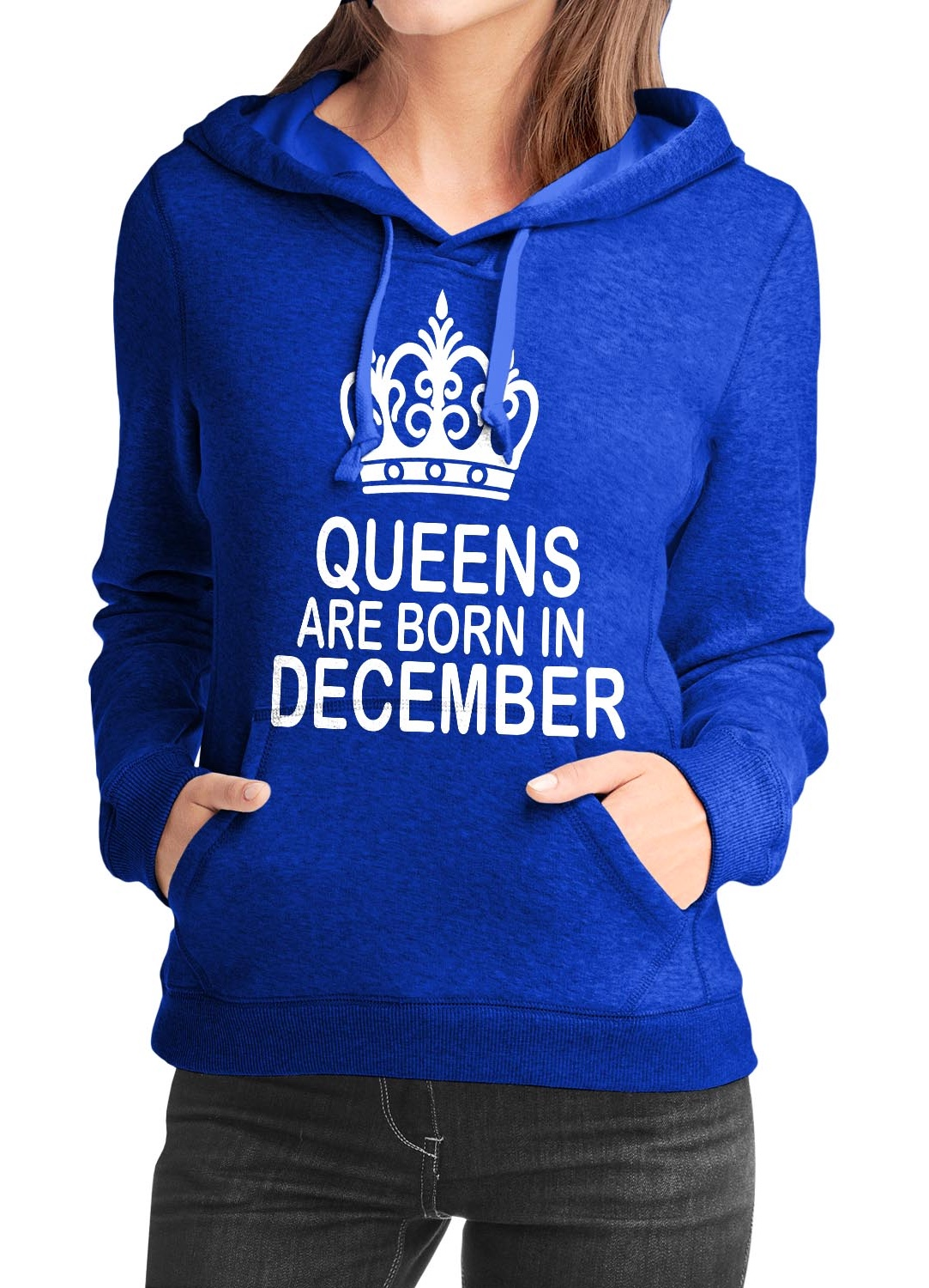 Queens Are Born In December Blue Girls Hoodie |