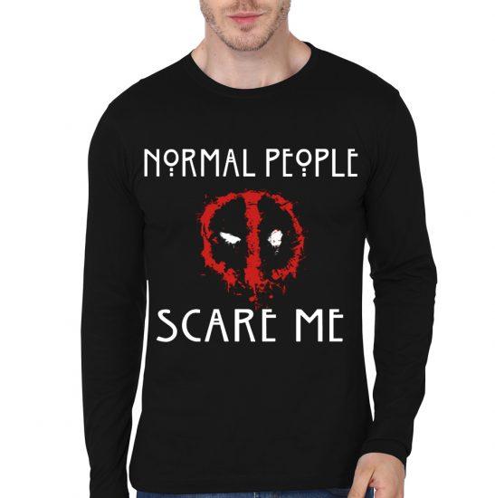 normal people deadpool black full sleeve tee