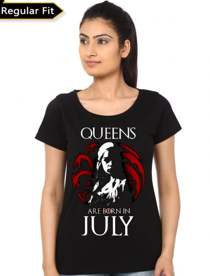 queens are born in july black girls t-shirt