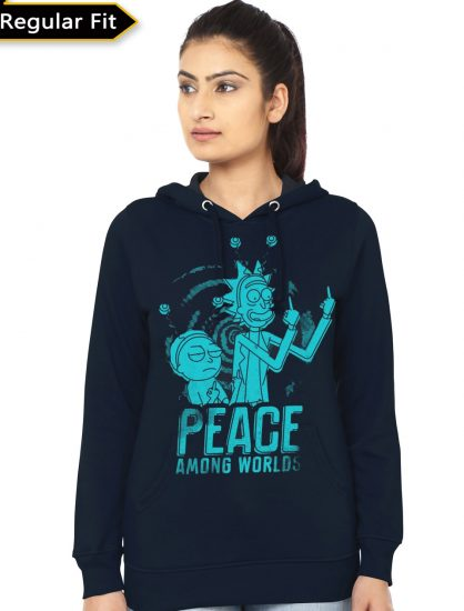 peace navy blue girls hoodie