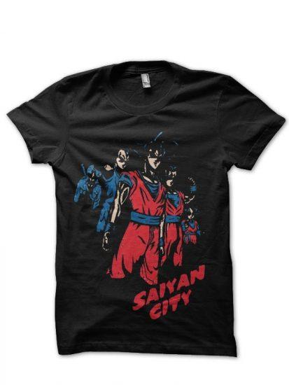 saiyan city black tshirt