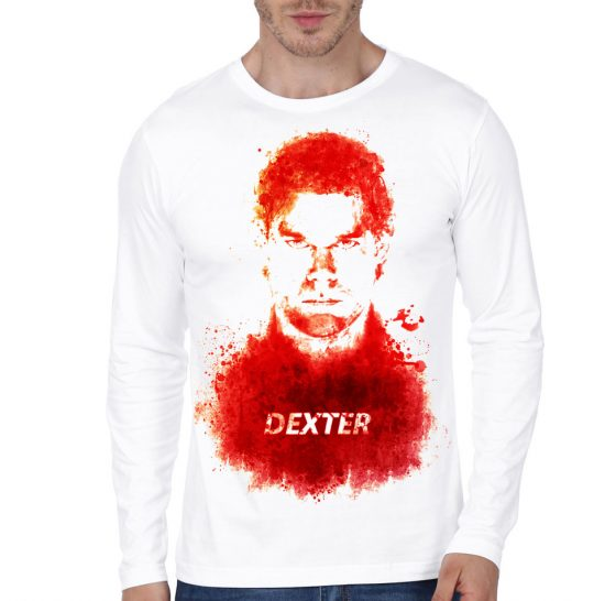 dexter white full sleeve t-shirt