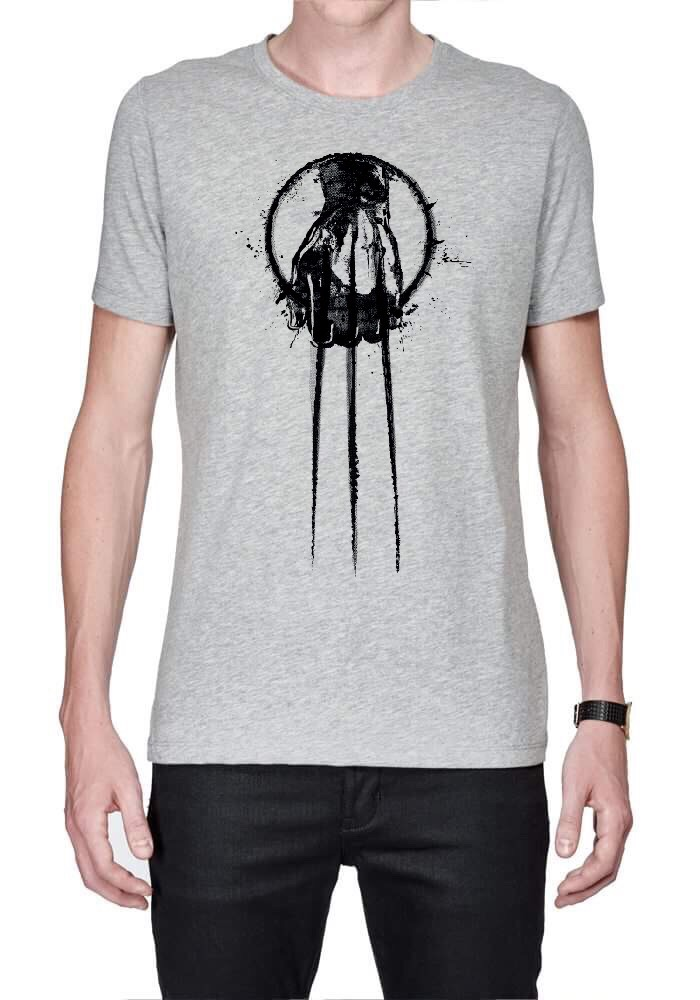 Hand of wolverine grey t shirt swag shirts for Full hand t shirts for womens