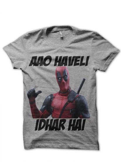 aao havel idhar hai deadpool grey tshirt