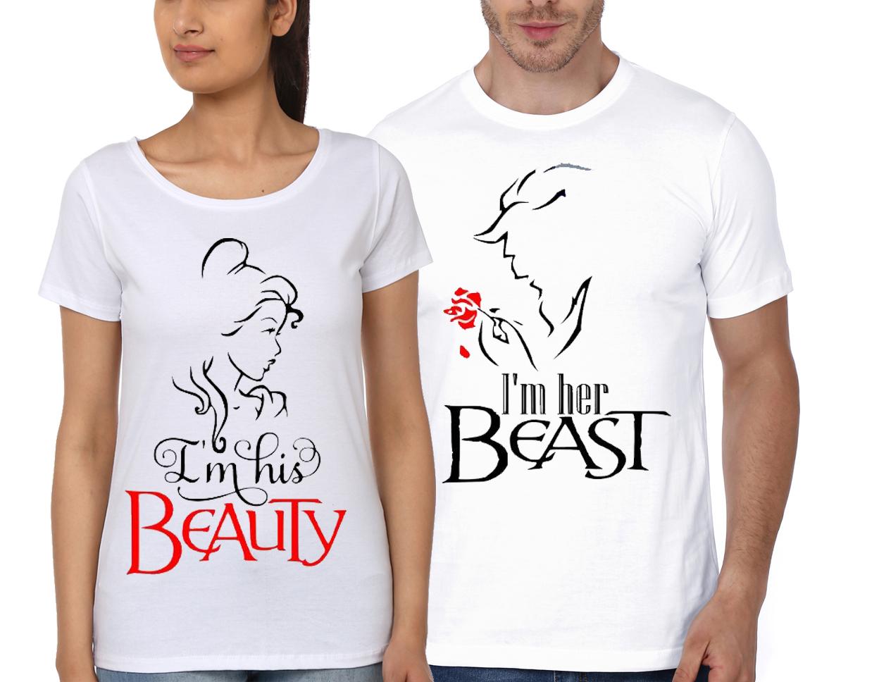ac5880f994 I'm His Beauty / I'm Her Beast White Couple T-Shirt | Swag Shirts