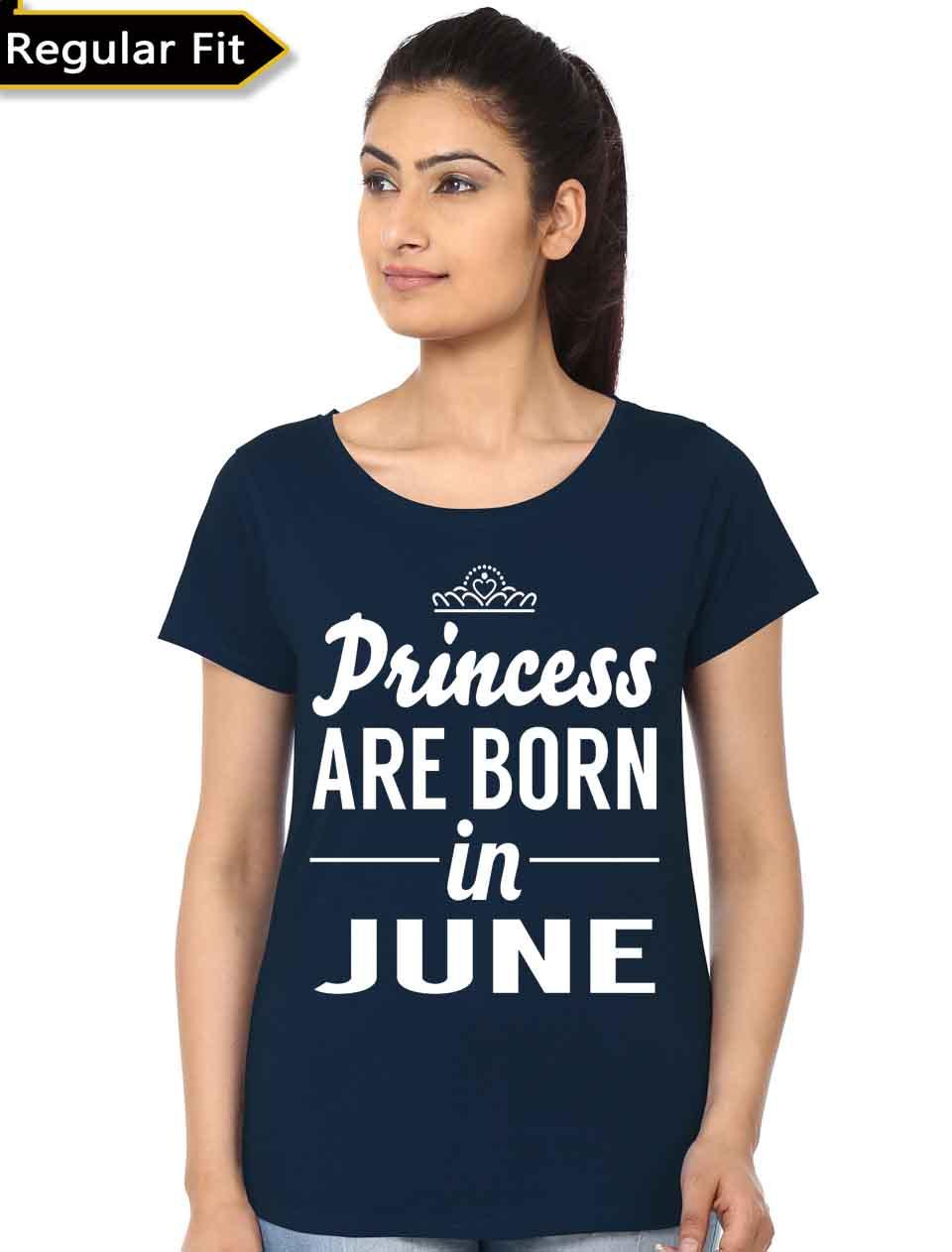 Princess Are Born In June Black T-Shirt