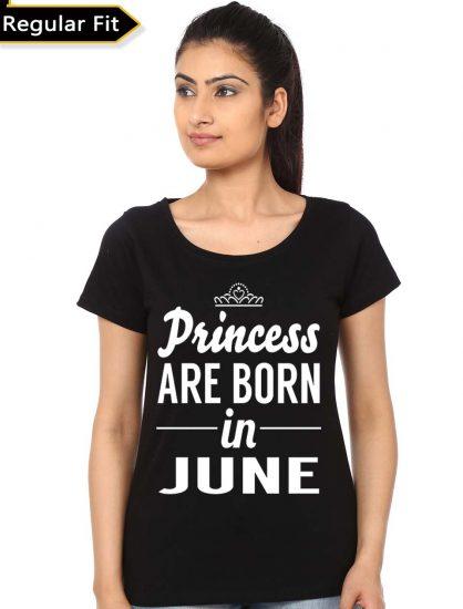 princess are born in june black tee