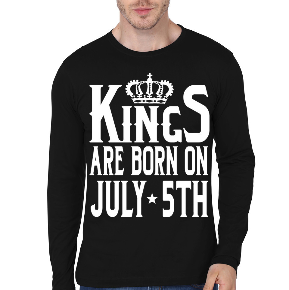 Kings Are Born In 5th July Black Full Sleeve T-Shirt