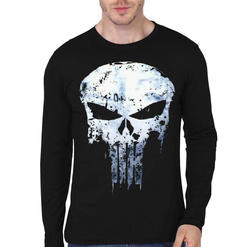 219749e5 Punisher Black Full Sleeve T-Shirt   Swag Shirts