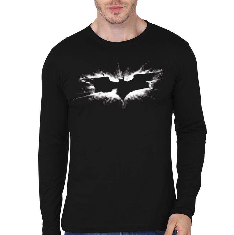 The dark knight rises black full sleeve t shirt swag shirts for Full black t shirt
