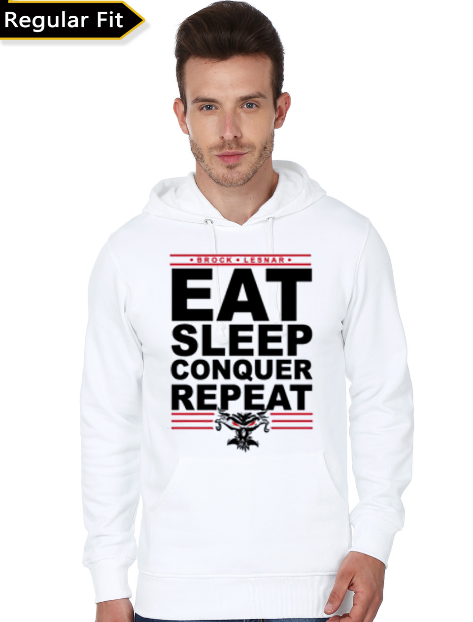 Home   Hoodies   Sweatshirts   Eat Sleep Conquer Repeat White Hoodie a5b19ed58737