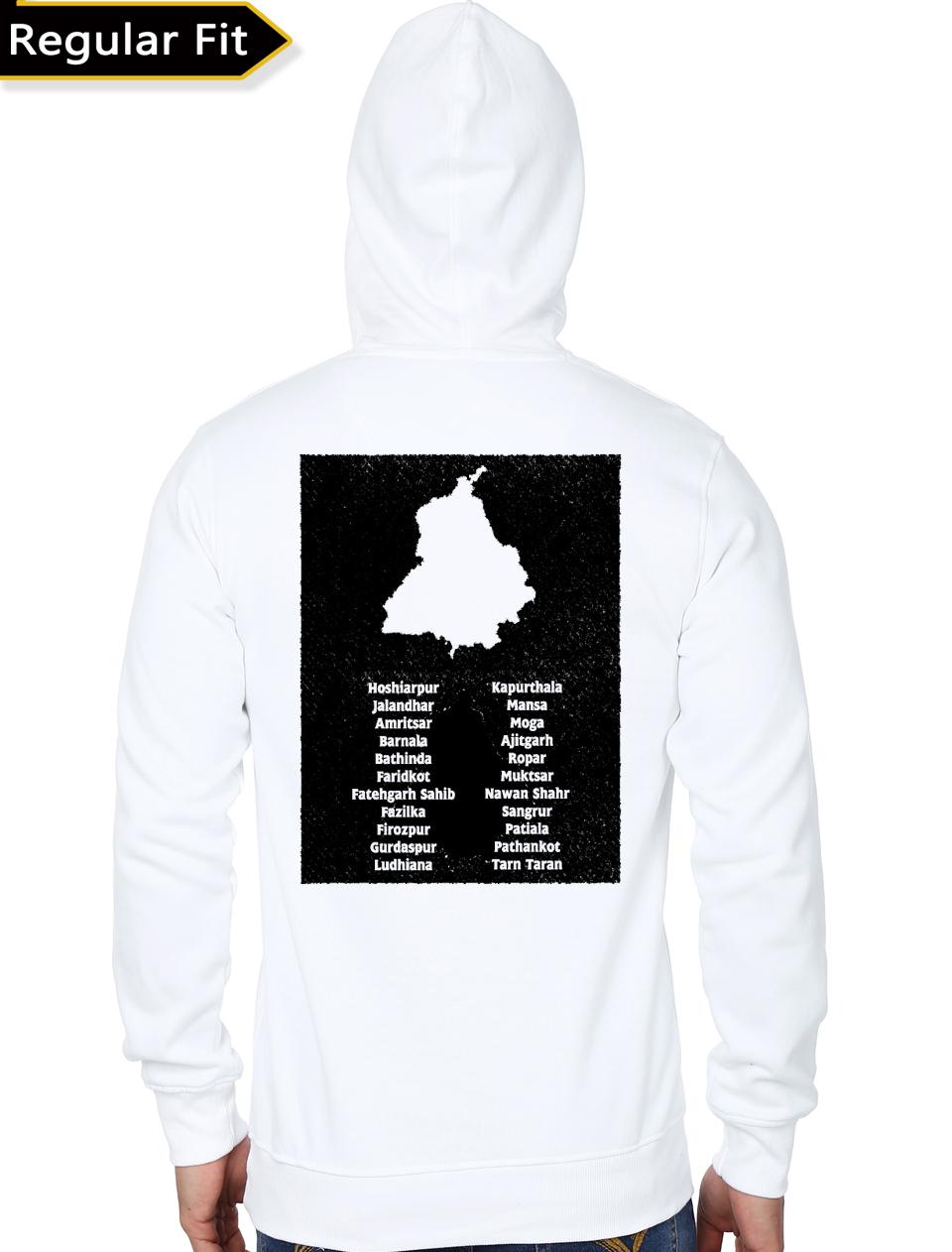 Hun Dus Punjab Map White Hoodie