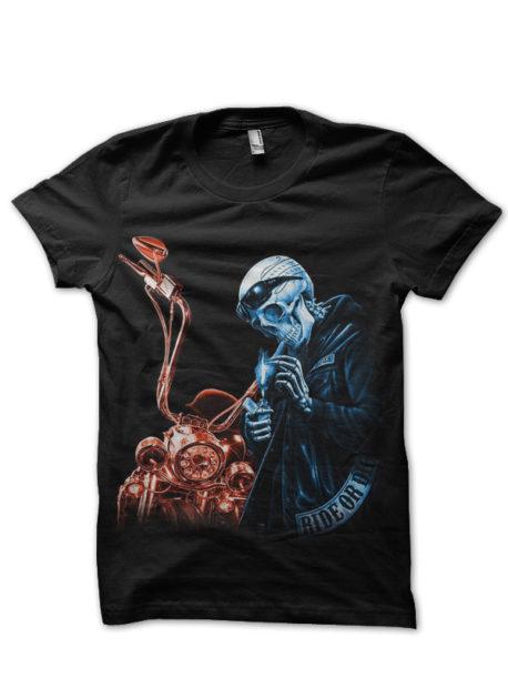 hardcore biker skeleton Black T-Shirt