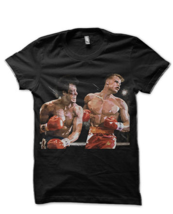 rock balboa vs ivan drago black tshirt