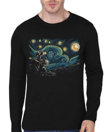 wall starry night black full sleeve tshirt