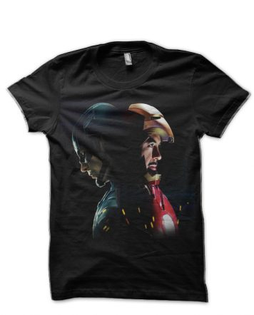 Captain America And Iron Man Black T-Shirt