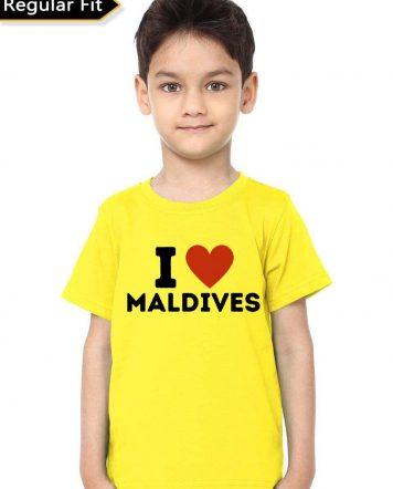 I Love Maldives Yellow T-Shirt