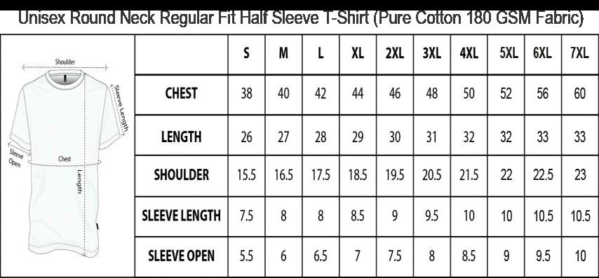 Mens Round Neck Regular T shirt Size Chart